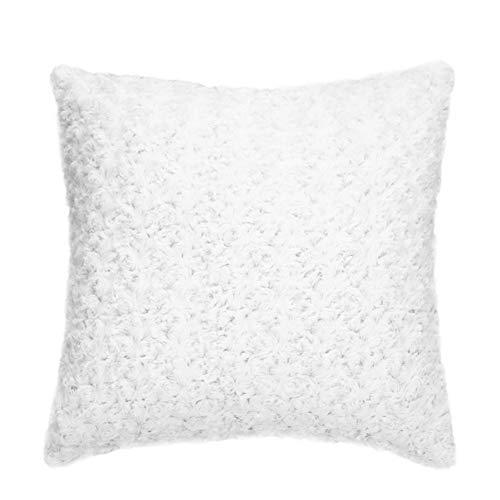 Wongfon Rose Throw Pillow Luxury Faux Fuzzy Fur Cojín súper Suave Funda de Almohada Decoración para sofá Sofá Dormitorio Hogar Navidad Decoración del día de San Valentín 18 x 18 Pulgadas