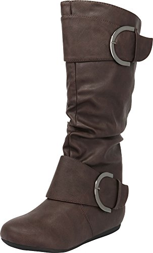 Cambridge Select Pull-On Slouchy Mid-Calf Round Toe Buckle Boot,8.5,Brown