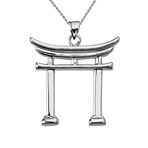 Fine Sterling Silver Japanese Torii Gate Pendant Necklace, 18