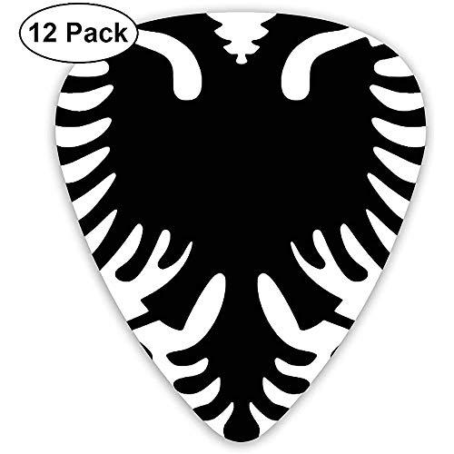 Gitarrenpicks mit albanischer Flagge 12 Ukulelenpicks, einschließlich 0,46 mm, 0,71 mm, 0,96 mm Akustikgitarre