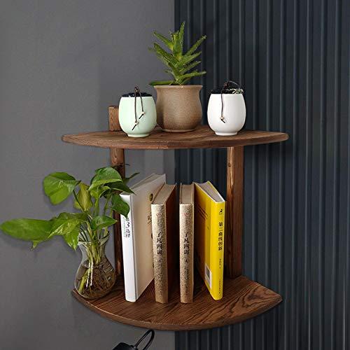 2-Tier Corner Wall Shelves, Sector Wall Mounted Floating Corner, Storage Shelves for Living Room, Bedroom, Kitchen