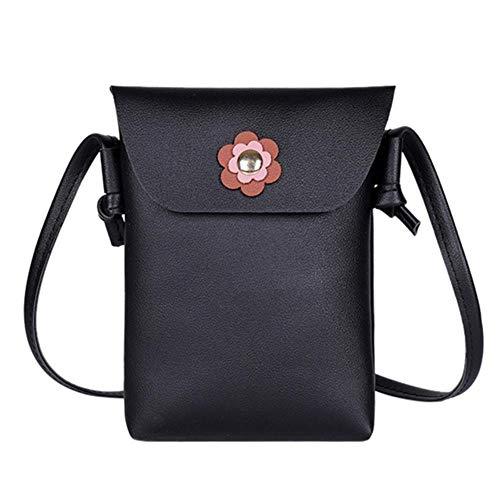 LHXS Dames Schoudertas Effen Kleur Gesp Bloem Messenger Bag Materiaal