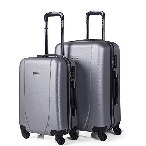 ITACA - Juego de Maletas de Viaje Ligeras 2 Pzs. Set Trolley ABS 4 Ruedas (Cabina + Mediana) Rígidas yResistentes. Conjunto Equipaje Avión. 71115, Color Plata