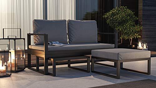 ARTELIA Cassio Street Collection Loungemöbel Personen - Modulares Premium Gartenmöbel Set für Terrasse, Garten und Wintergarten, Terrassenmöbel Anthrazit - 3