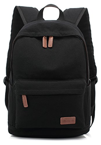KAYOND Casual Style Lightweight Canvas Laptop Bag/Business Backpacks/School Backpack/Travel Backpack (Black)