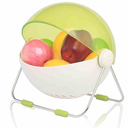 LI Jing Shop - KüchenGestell, rund mit Deckel Obstkorb Obstschale Obst akzeptieren den Korb (Farbe : Grün)