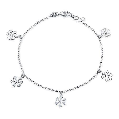 Baumeln Charm Winter Schneeflocke Fußkettchen Für Jugendlich Link Kette Armband Für Damen Sterling Silber 9-10 Zoll