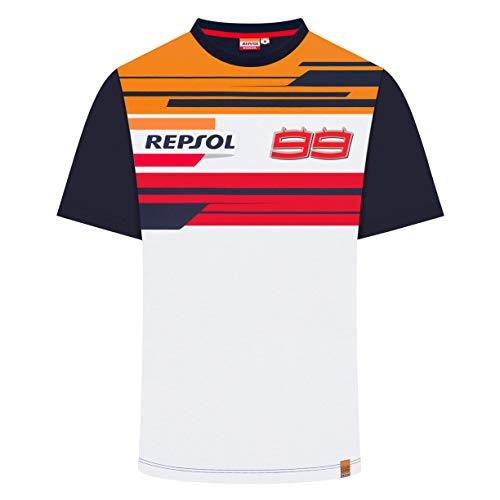 Camiseta Oficial de la selección de MotoGP para Honda Racing 2019 Jorge Lorenzo #99 de la Marca Repsol, Blanco, Mens (XL) 112cm/44 Inch Chest