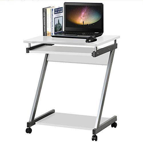 Costoffs 60.2 x 48 x 74 cm Mobile Computer Desk Z-Shaped with Sliding...