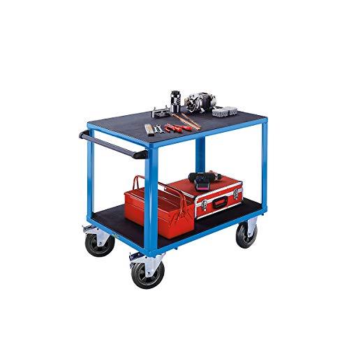 EUROKRAFT ACTIVE GREEN Montagewagen | 2 Ladeflächen | Tragfähigkiet 500 kg | Arbeitstisch Werkstattwagen Handwagen | Lichtblau