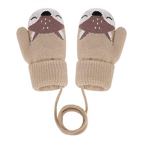 YSXY Süße Fäustlinge Baby Kleinkind Gestrickte Handschuhe für 1,2,3 Jahre Jungen Mädchen Winter Warme Strickhandschuhe mit schnur Fleece-Innenfutter (Beige-Fuchs)