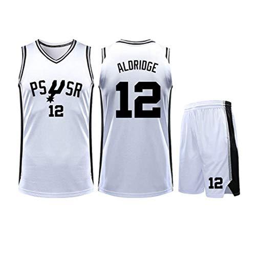 N / A Pantaloncini San Antonio Spurs # 12 Lamarcus Aldridge Basketball Giacca dell'uniforme Era Ricamato - Gli Uomini del Pullover di Pallacanestro Set,Bianca,4XL, 180~185 Centimetri