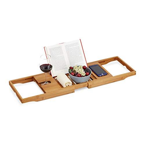 Relaxdays XL Badewannenablage, mit Buchstütze & für Tablet, Badewannenbrett, Bambus, ausziehbar 70-105 cm, Natur, 1 Stück