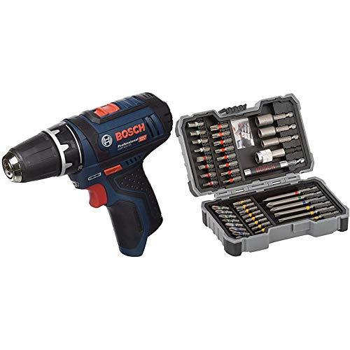 Bosch GSR 12V-15 Professional - Atornillador a batería sin batería ni cargador (12V) + Bosch 2 607 017 164 Set de 43 Unidades para atornillar y Llaves de Vaso (Ph,Pz,SL,H,T,TH), Herramientas, 0