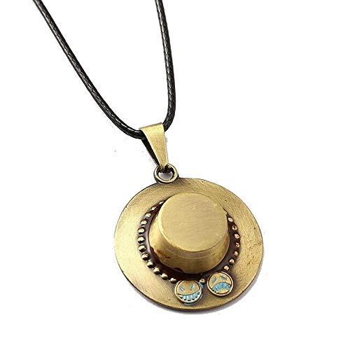 Genérico One Piece – Collar con colgante de metal – Sombrero de Portgas D Ace – Color bronce