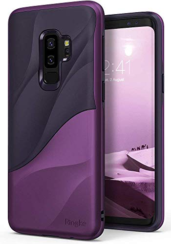 Ringke Wave Compatible with Galaxy S9 Plus Case Dual Layer Heavy Duty 3D Textured Shock Absorbent PC TPU Full Body Drop Resistant Protection Cover for Galaxy S 9 Plus (2018) - Metallic Purple