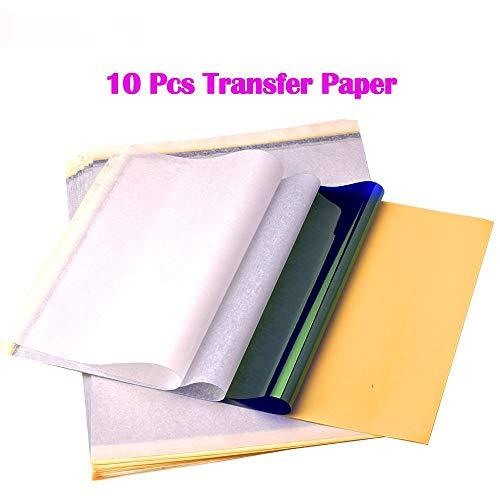 ATOMUS 10 Blätter Tattoo Transferpapier Carbon Thermal Tracing Carbon Schablone Papier Transfer Kopierpapier A4 Größe für Tattoo Drucker Maschine (10 Blätter)