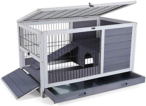 PETSFIT Indoor Rabbit Hutch & Hamster Cage with Hideout for Rest and Ramp for Enter and Out