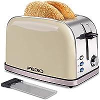 iFedio 2 Slice Stainless Steel Retro Bread Toasters