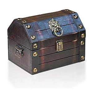 Brynnberg Caja de Madera Lionshead S 22x16x16cm - Cofre del Tesoro Pirata de Estilo Vintage - Hecha a Mano - Diseño Retro - joyero
