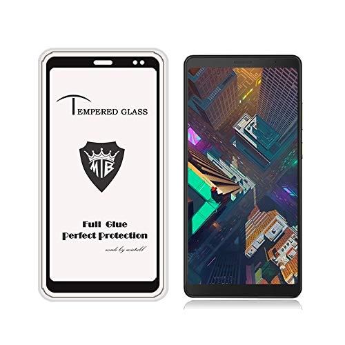 MEMETI Protectores de Pantalla Película de Cristal Moderada Anti-Huella Digital de Cola Completa for Lenovo Tab V7 (Negro) película Templado