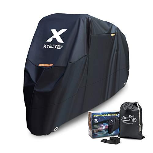 XYZCTEM Motorradabdeckung, Wasserdicht Extra Strapazierfähig Dicke 210D Oxford, All Season Outdoor Schutz für Motorräder mit einer maximalen Länge von 265cm