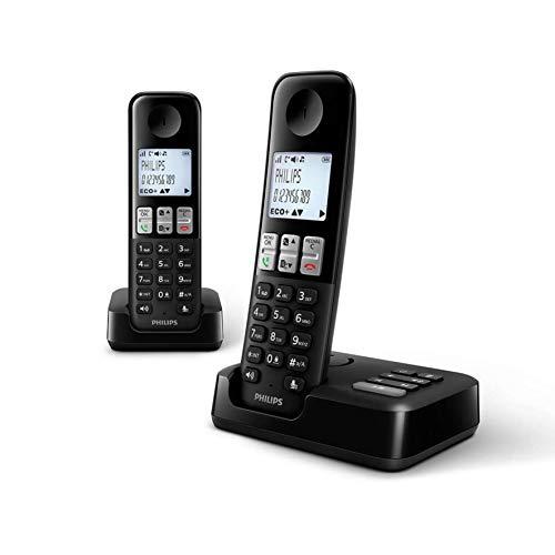 Philips D2552B Schnurloses DECT Festnetztelefon, Heimtelefon mit Anrufer-ID, Rufsperre und Anrufbeantworter - Zwei Hörer