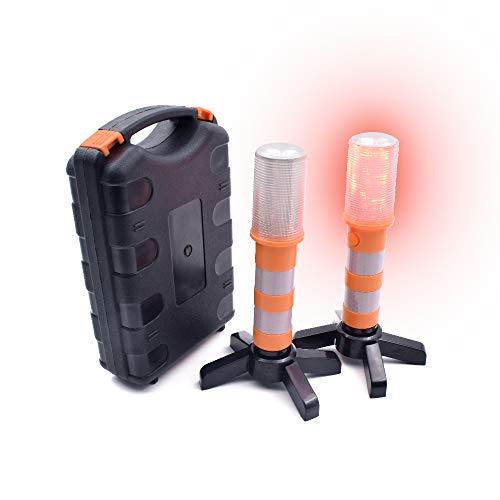 Acelane 2 LED Straßen-Flares Warnleuchte Rot Pannenhilfe Rundum Multifunktions Warnleuchte set mit Magnetisch Basis,Wasserdicht Warnblinkleuchte Pannenhilfe Warnlicht Warnsignal