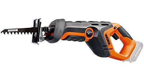 WORX WX508.9 reciprozaag 20 V – accuzaag voor het snijden van hout, steen en nog veel meer. - Verstelbare voetplaat, variabele snelheid, LED-licht, pendelslag – zonder accu en oplader.