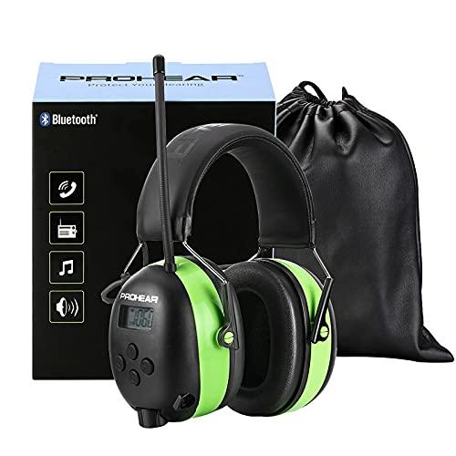 PROHEAR (Upgraded Gehörschutz mit Bluetooth, LCD-Display , FM/AM Radio Wiederaufbare Ohrenschützer, Eingebautem Mikrofon und Lärmreduzierung für Lärmintensive Freizeitaktivitäten SNR30dB -Grün