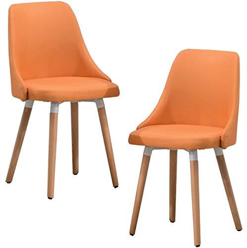 Delman Besucherstuhl Esszimmerstuhl Wohnzimmerstuhl Armsessel Sessel Stoff-Bezug Küchenstuhl 2 Stück 02-0017 (Orange)