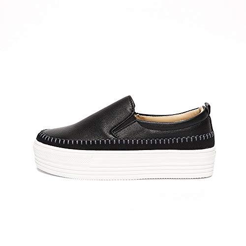 Space Girl Shoes Stitch Basic Slip-on Casual Women Wedge Heels Platform (Black, 5.5)