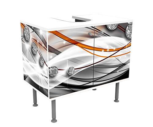wandmotiv24 Mobile Bagno Diamante Arancione Incollato Frontale e Laterale Lavandino, Mobile Vanity,...
