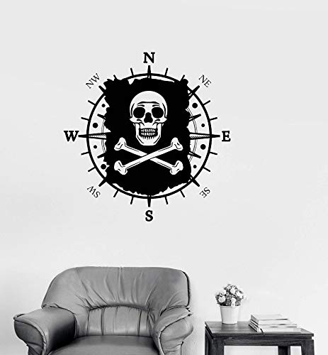JXND Compass and Pirate Vinyl Wall Sticker Nautical Lovers Indoor Bathroom Toilet Home Deco Art Wall Decal 63x64cm
