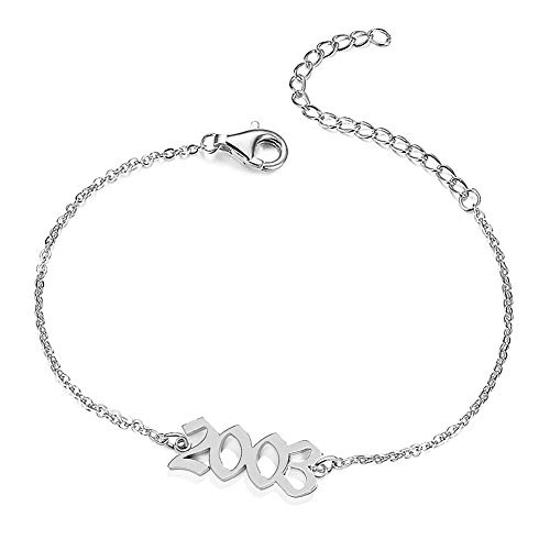 UMSTAR Birth Year Ankle Bracelets for Women,Summer Beach Foot Chain Dainty Silver Anklets for women girls Foot Jewelry Birthday Gifts (2003)
