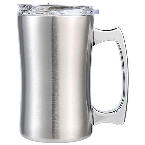 OVBBESS Taza aislada de acero con tapa, taza, doble pared cerveza Stein, vaso con asa, taza de cerveza aislada