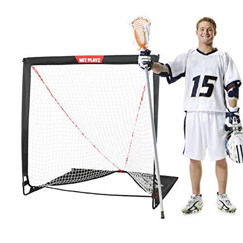 NET PLAYZ 4 x 4 x 4 Feet Lacrosse Goal Fast Install, Fiberglass Frme, Lightweight, Foldable, Portable, Carry bag Included
