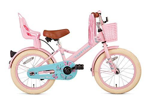 POPAL SuperSuper Little Miss Kinder Fahrrad für Kinder | Fahrrad Mädchen 16 Zoll ab 4-6 Jahre| Kinderrad met Stützrädern | Rad mit Korb und Puppensitz |Rosa