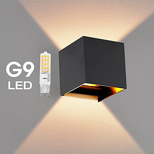 OOWOLF Lampara De Pared, Aplique De Pared Exterior Impermeable IP65 Con Luz Blanco Cálido 3000K LED Bombillas Reemplazables Para Interior Exterior Apliques Con Bombilla ✅
