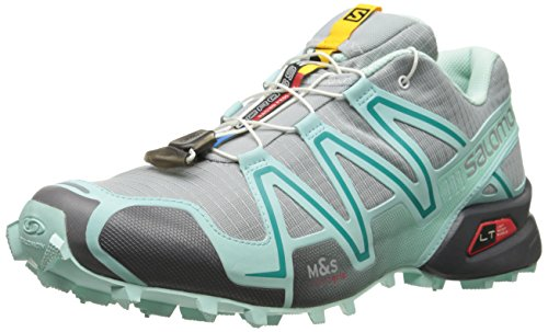 Salomon Women's Speedcross 3-W, Light Onix/Topaz Blue/Dark Cloud, 9.5 M US