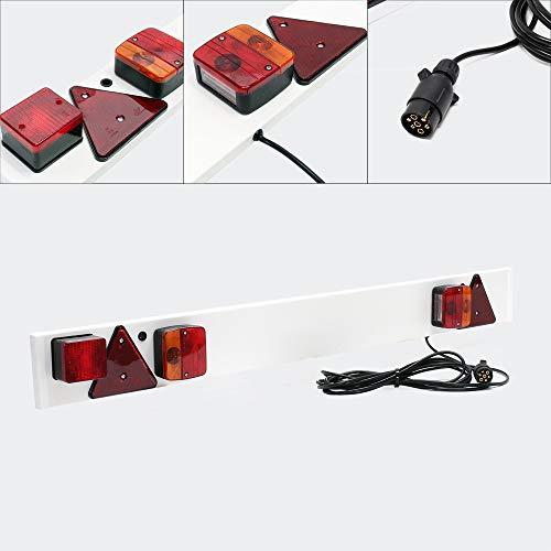 WilTec Rampe Éclairage Remorque 7 Broches Largeur 137cm & Câble de 6m avec Feux arrière Stop & Clignotants