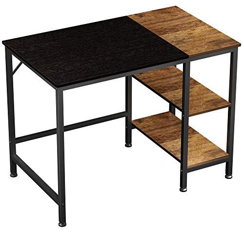 JOISCOPE Computertisch, Laptop-Schreibtisch, Schreibtisch mit Holzregalen, Schreibtisch im Industriestil für das Home Office (Black Finis) 100 cm,40 Zoll