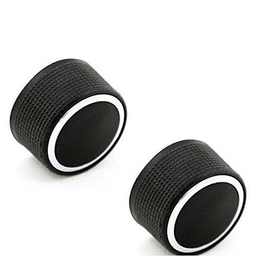 Preisvergleich Produktbild Boomboost Aluminiumlegierung Audio Radio Auto Klimaanlage Switch Knopf Schaltknopf betätigen AC Knopf Auto 2Stk / Set Schwarz
