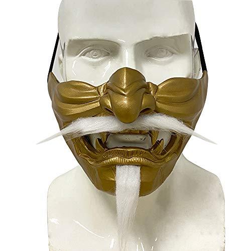 Laughing Prajna Devil Máscara de Caralheira, Prajna tática, meio rosto, Cavaleiro Demônio do Mal para Dia das Bruxas, ouro
