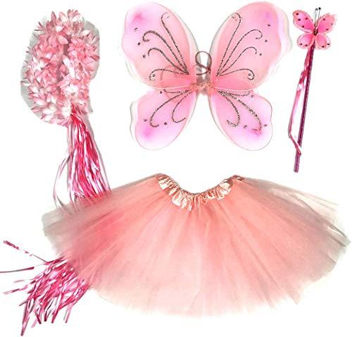 Tante Tina - Disfraz de Hadas Mariposa - Alas, Falda tutú, Varita mágica y Diadema - Rosa Clara con Diadema