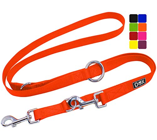 DDOXX Hundeleine Nylon, 3fach verstellbar, 2m | für kleine & große Hunde | Doppel-Leine Zwei Hund Katze Welpe | Schlepp-Leine groß | Führ-Leine klein | Lauf-Leine Welpen-Leine | S, Orange