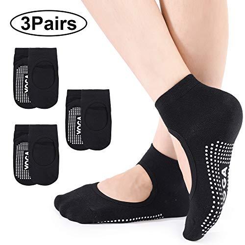 Bezioner 3 Paar Damen Yoga Socken rutschfeste für Yoga,Pilates,Barre,Ballett,Tanz,Gymnastik,Trampolin Schwarz