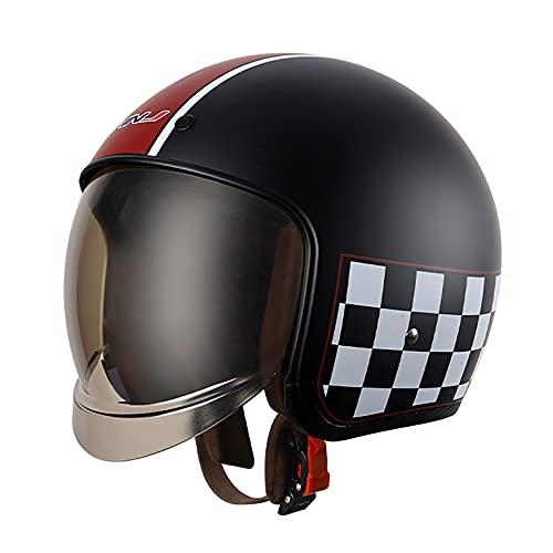 QHF Casco Abierto 3/4 Cascos de Motocicleta 100% aprobados por Dot Protección contra Impactos multideportivos con Gafas para jóvenes y Adultos