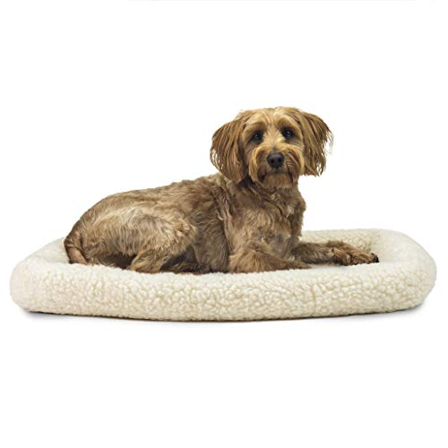 Furhaven Pet Dog Bed Kennel Pad - Faux Lambswool and Sherpa Crate or Kennel Mat Bolster Pet Bed for Dogs and Cats, Cream, Medium