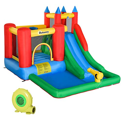 Outsunny Kids Inflatable Bounce House Jumping Castle with Slide, Water Pool Gun Climbing Wall Basket 6 in 1 with Air Blower for Age 3-12 Years Summer Playland, 11.5' x 9' x7'